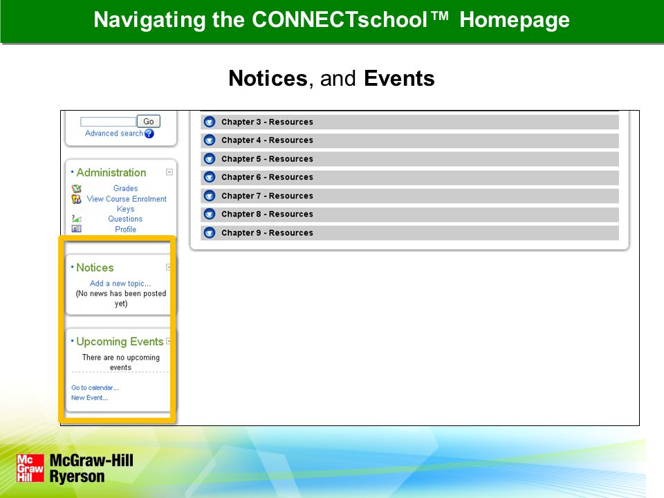 Navigating the CONNECTschool™ Homepage Notices, and Events