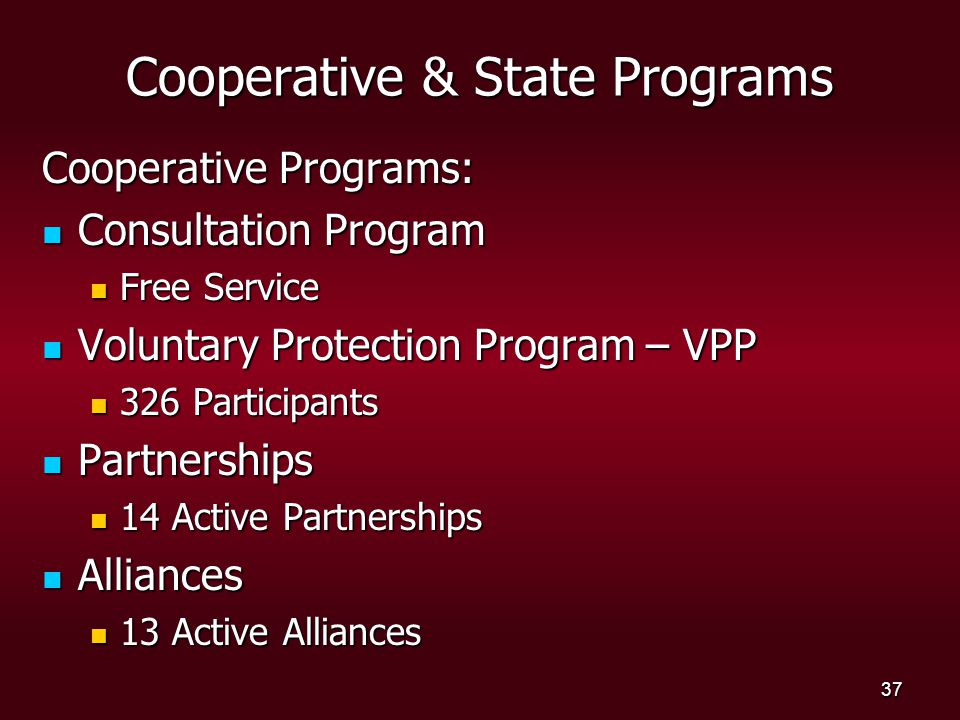 37 Cooperative & State Programs Cooperative Programs: Consultation Program Consultation Program Free Service Free Service Voluntary Protection Program – VPP Voluntary Protection Program – VPP 326 Participants 326 Participants Partnerships Partnerships 14 Active Partnerships 14 Active Partnerships Alliances Alliances 13 Active Alliances 13 Active Alliances
