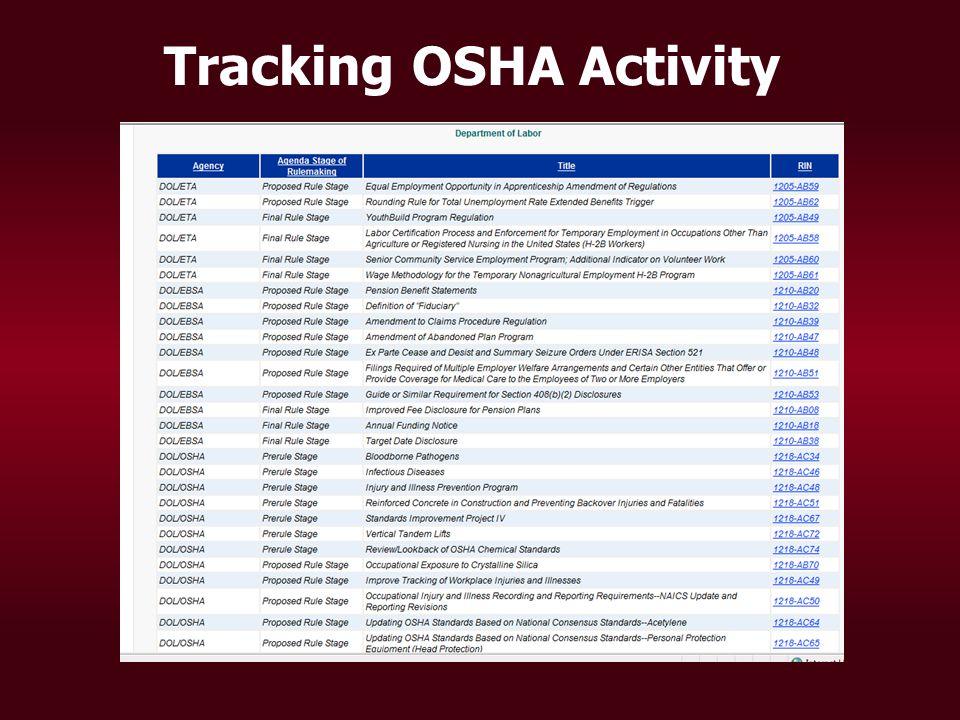 Tracking OSHA Activity