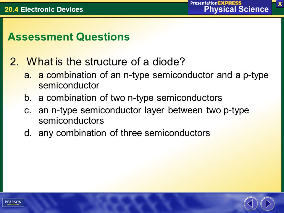 20.4 Electronic Devices Assessment Questions 2.What is the structure of a diode? a.a combination of an n-type semiconductor and a p-type semiconductor