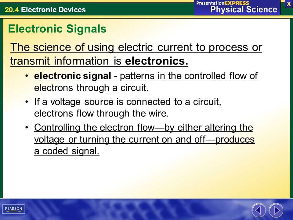 20.4 Electronic Devices The science of using electric current to process or transmit information is electronics. electronic signal - patterns in the c