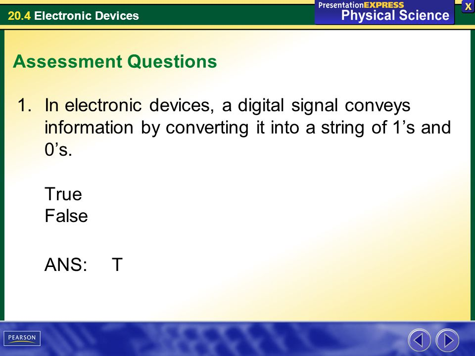 20.4 Electronic Devices Assessment Questions 1.In electronic devices, a digital signal conveys information by converting it into a string of 1's and 0