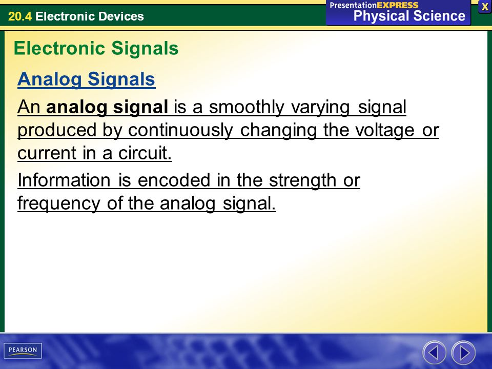 20.4 Electronic Devices Analog Signals An analog signal is a smoothly varying signal produced by continuously changing the voltage or current in a cir