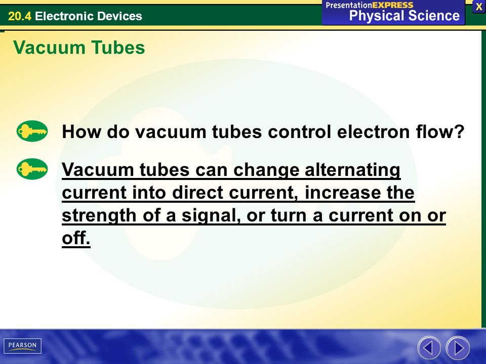20.4 Electronic Devices How do vacuum tubes control electron flow? Vacuum Tubes Vacuum tubes can change alternating current into direct current, incre