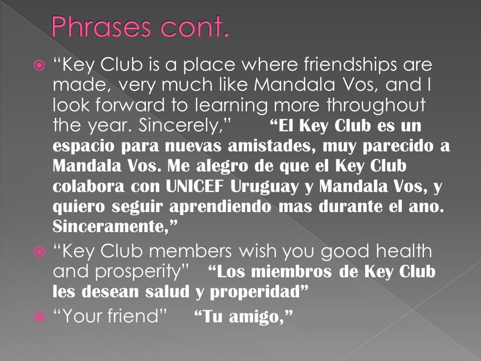  Key Club is a place where friendships are made, very much like Mandala Vos, and I look forward to learning more throughout the year.
