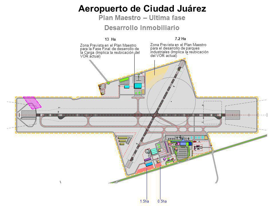 1.5ha Aeropuerto de Ciudad Juárez Plan Maestro – Ultima fase Desarrollo Inmobiliario 0.5ha 13 Ha Zona Prevista en el Plan Maestro para la Fase Final d
