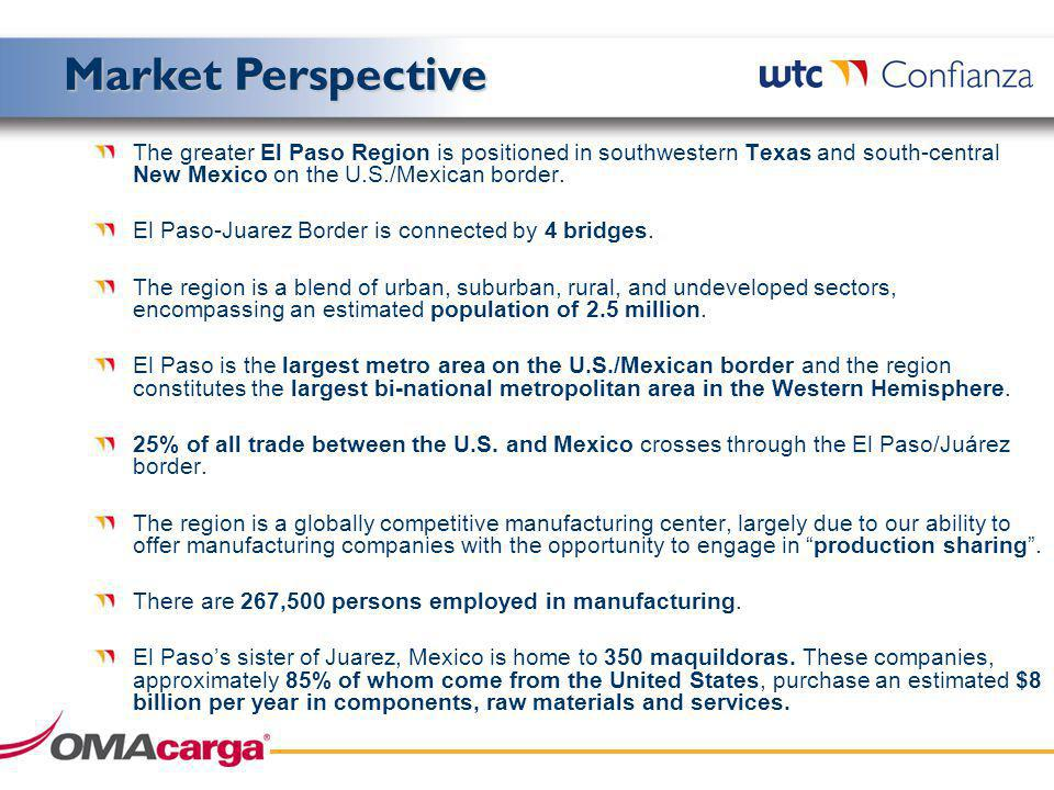 The greater El Paso Region is positioned in southwestern Texas and south-central New Mexico on the U.S./Mexican border.