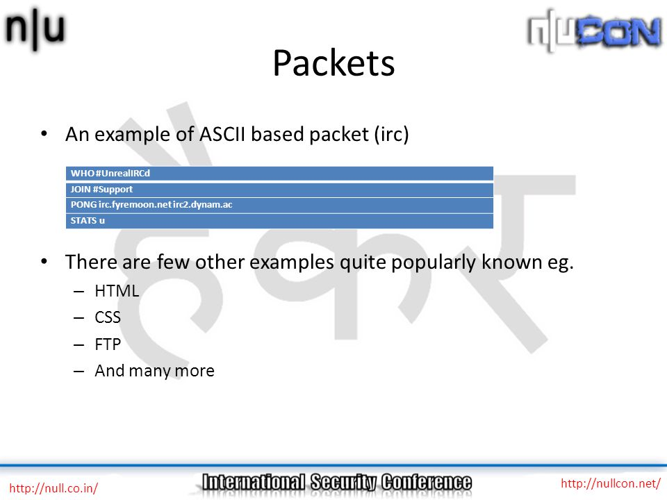 Packets An example of ASCII based packet (irc) There are few other examples quite popularly known eg. – HTML – CSS – FTP – And many more http://null.c