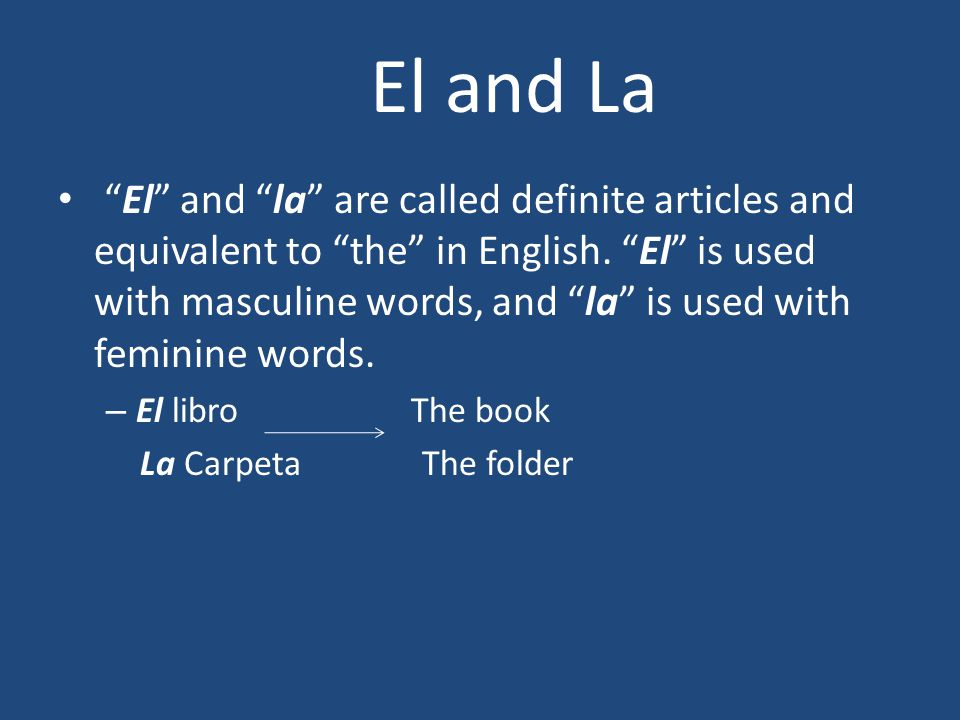 El and la are called definite articles and equivalent to the in English.