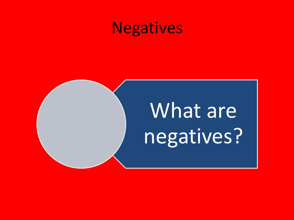 Negatives What are negatives