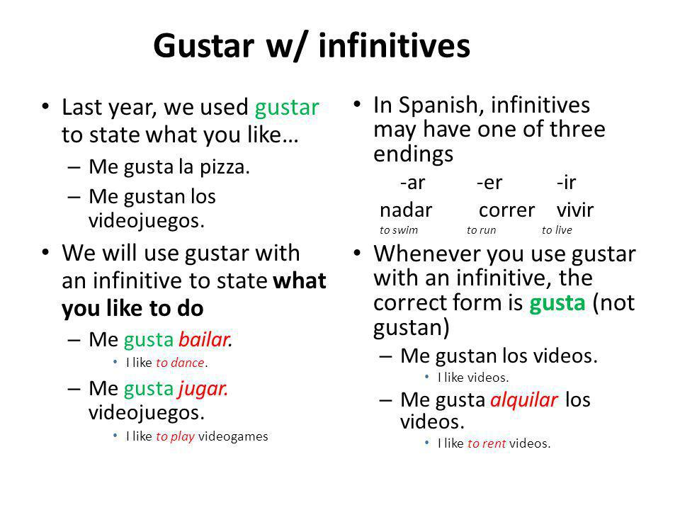 Gustar w/ infinitives Last year, we used gustar to state what you like… – Me gusta la pizza.