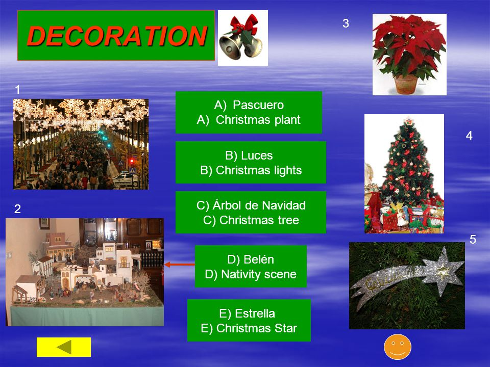 A)PascueroPascuero A) Christmas plant 3 B) Luces B) Christmas lights C) Árbol de Navidad C) Christmas tree D) Belén D) Nativity scene E) Estrella E) Christmas Star 1 2 4 5 DECORATION
