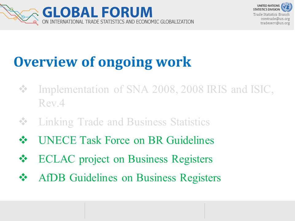 Trade Statistics Branch  Overview of ongoing work  Implementation of SNA 2008, 2008 IRIS and ISIC, Rev.4  Linking Trade and Business Statistics  UNECE Task Force on BR Guidelines  ECLAC project on Business Registers  AfDB Guidelines on Business Registers