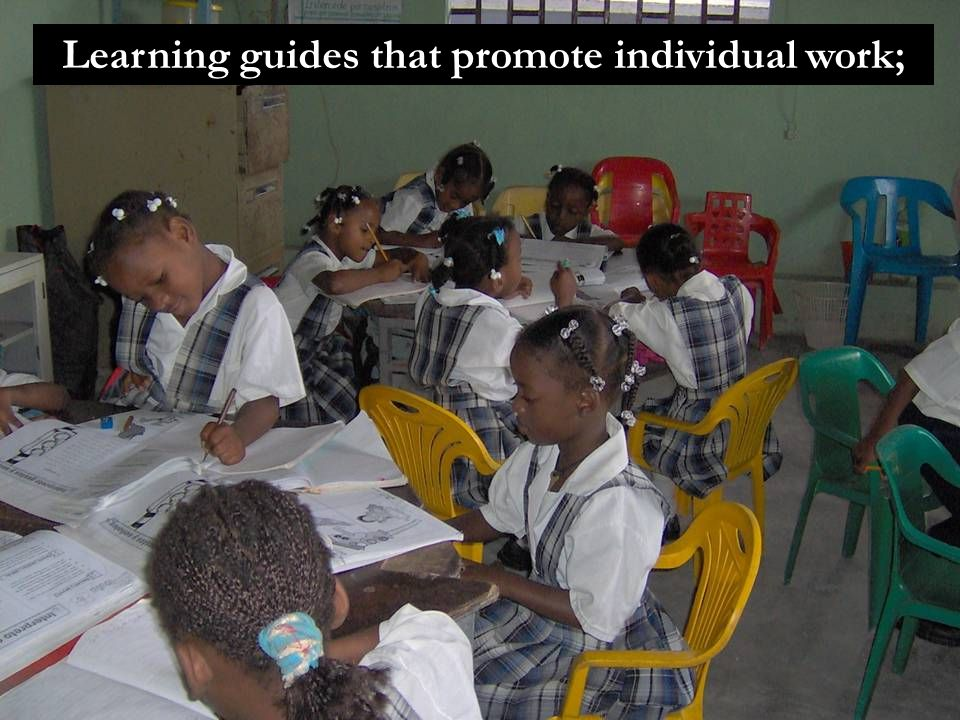 Learning guides that promote individual work;