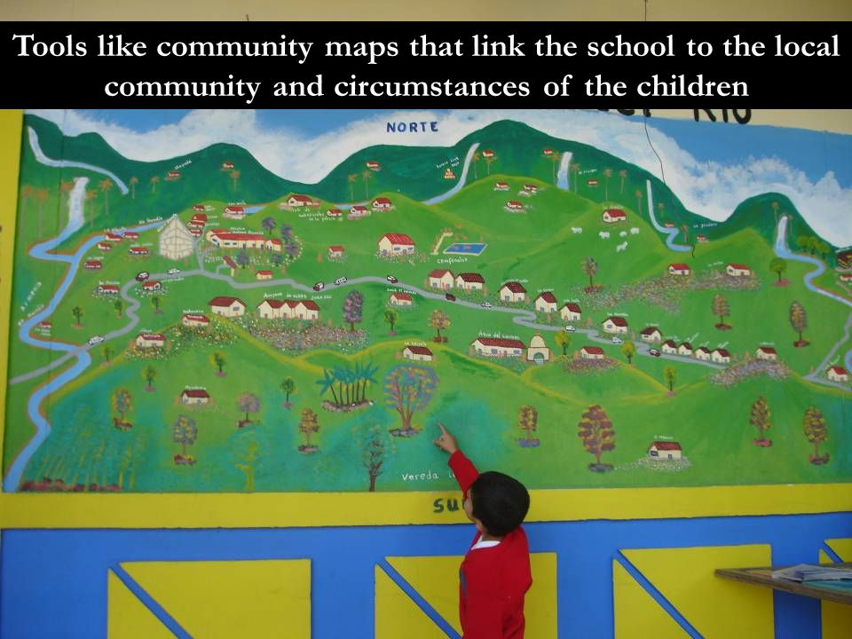 Tools like community maps that link the school to the local community and circumstances of the children