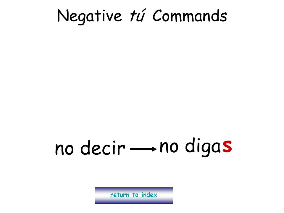 Negative tú Commands return to index no decir no diga s