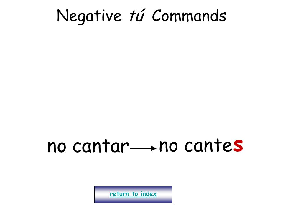 Negative tú Commands return to index no cantar no cante s