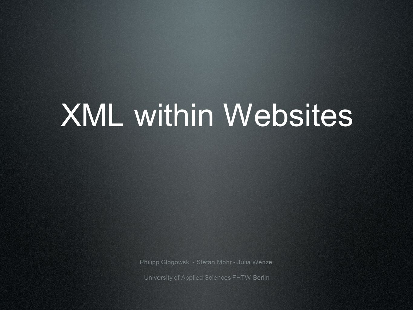 Index 1. Introduction 2. Overview about XML 3. Website vs. PDA-View with an example 4. Conclusions