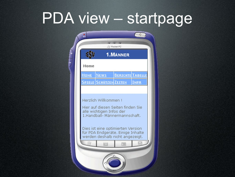 PDA view – startpage