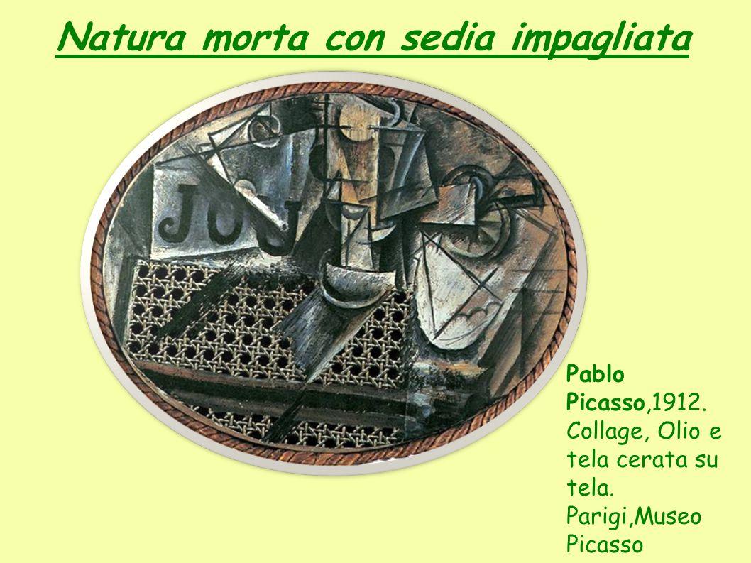 Natura morta con sedia impagliata Pablo Picasso,1912.