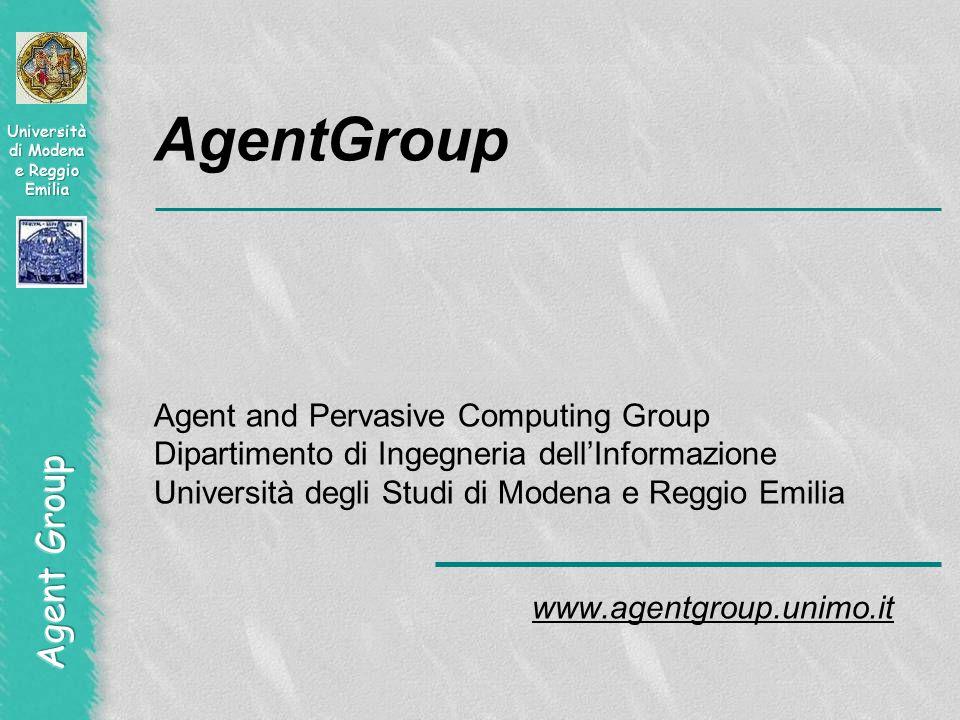 AgentGroup Agent and Pervasive Computing Group Dipartimento di Ingegneria dell'Informazione Università degli Studi di Modena e Reggio Emilia www.agentgroup.unimo.it