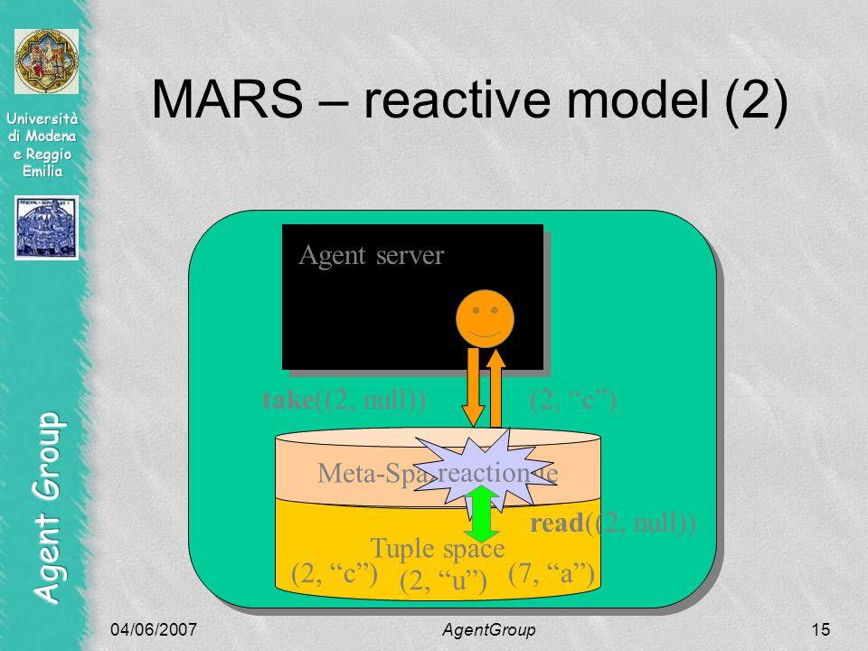 04/06/2007AgentGroup15 MARS – reactive model (2) Tuple space Agent server Meta-Spazio di tuple reaction take((2, null))(2, c ) read((2, null)) (2, u ) (7, a )