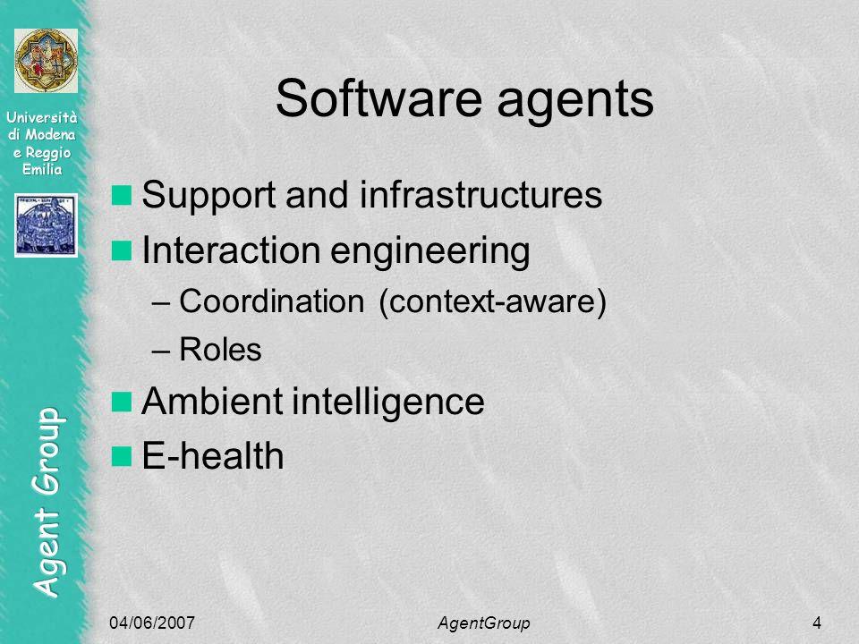 04/06/2007AgentGroup25 Other activities Ubiquitous computing Autonomic computing Services Code mobility