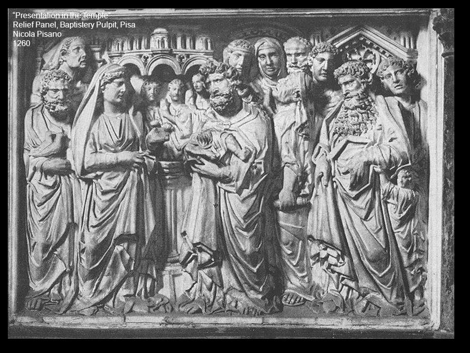 """Presentation in the Temple"" Relief Panel, Baptistery Pulpit, Pisa Nicola Pisano 1260"