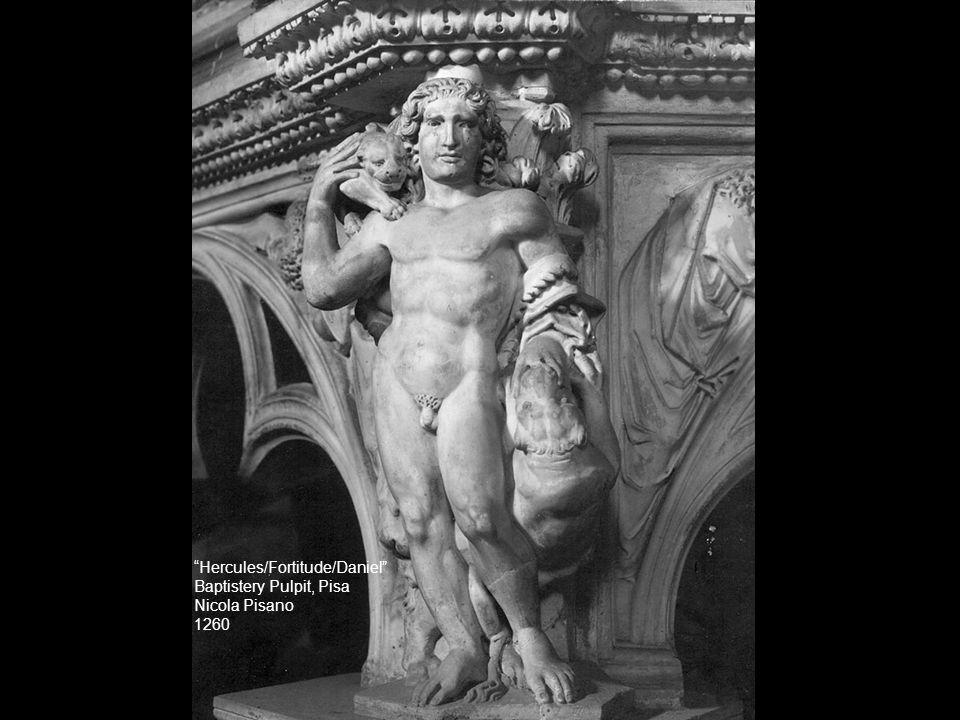 """""""Hercules/Fortitude/Daniel"""" Baptistery Pulpit, Pisa Nicola Pisano 1260"""