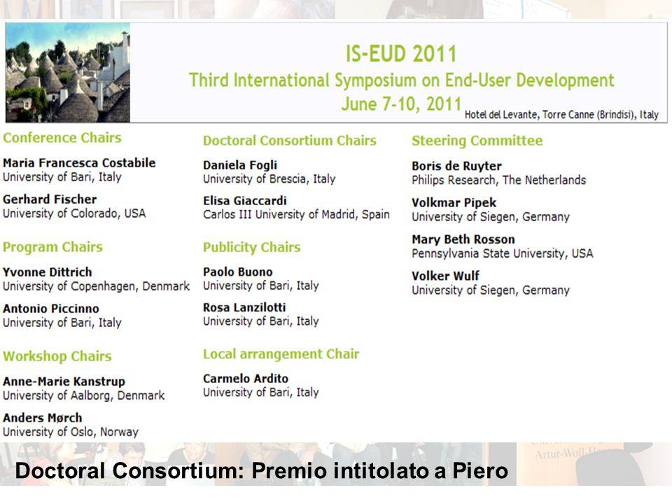 Doctoral Consortium: Premio intitolato a Piero