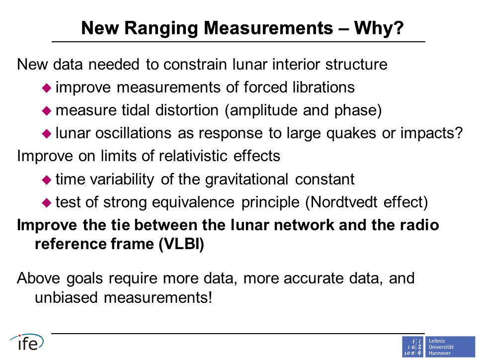 New Ranging Measurements – Why.