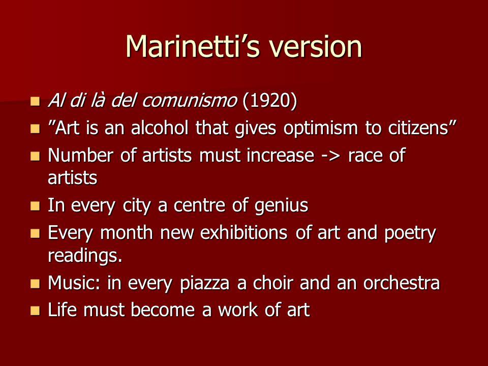 """Marinetti's version Al di là del comunismo (1920) Al di là del comunismo (1920) """"Art is an alcohol that gives optimism to citizens"""" """"Art is an alcohol"""