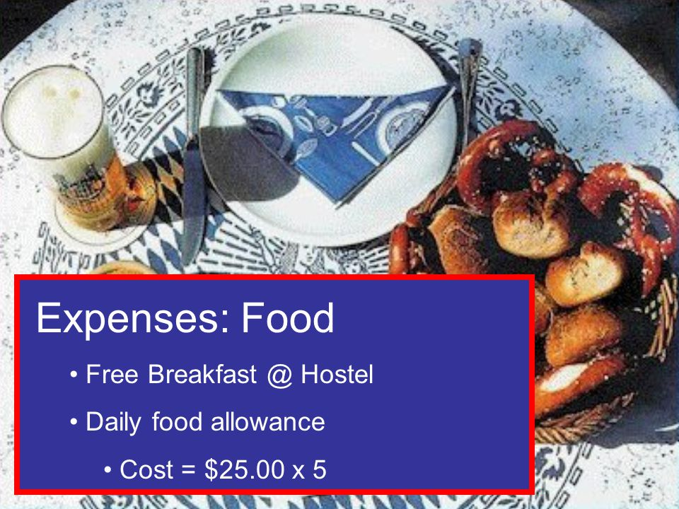 Expenses: Food Free Hostel Daily food allowance Cost = $25.00 x 5