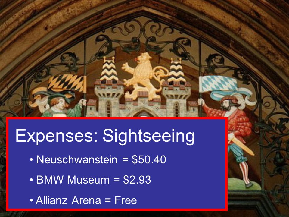 Expenses: Sightseeing Neuschwanstein = $50.40 BMW Museum = $2.93 Allianz Arena = Free