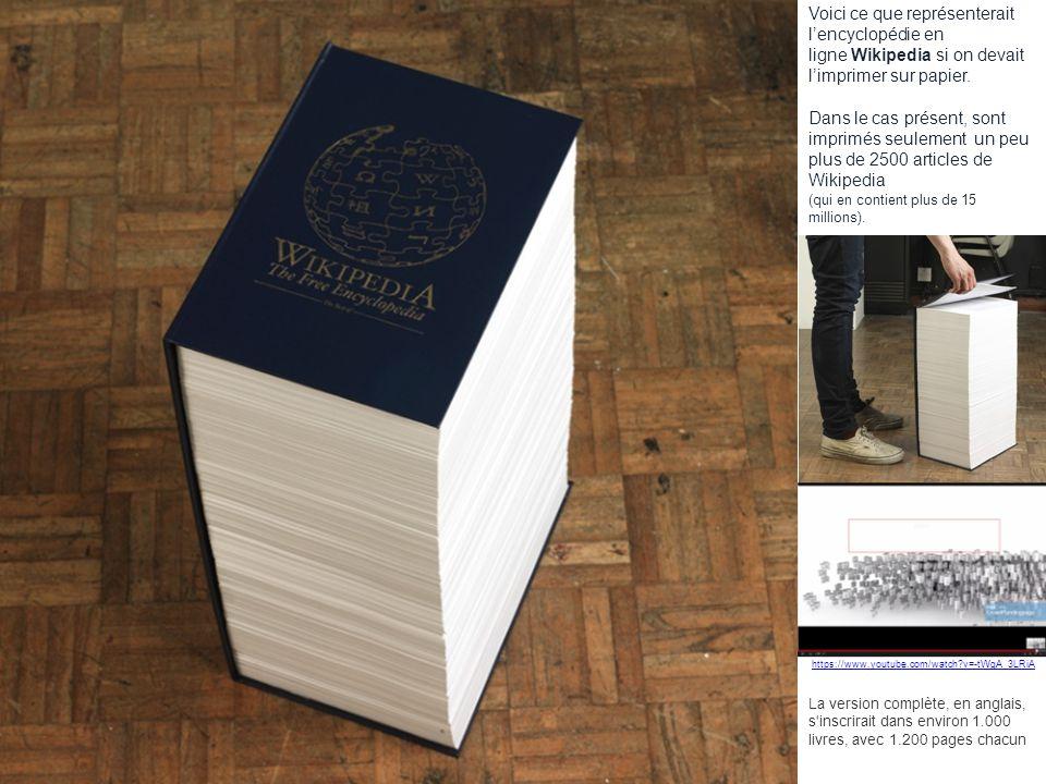 Voici ce que représenterait l'encyclopédie en ligne Wikipedia si on devait l'imprimer sur papier.