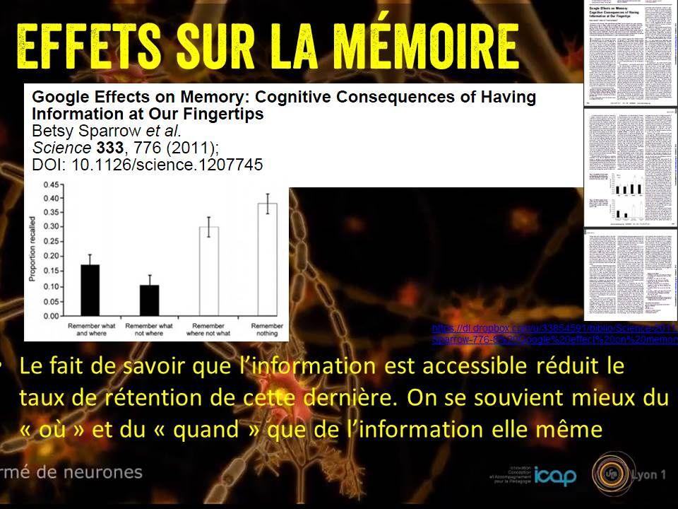 Effets sur la mémoire Le fait de savoir que l'information est accessible réduit le taux de rétention de cette dernière.