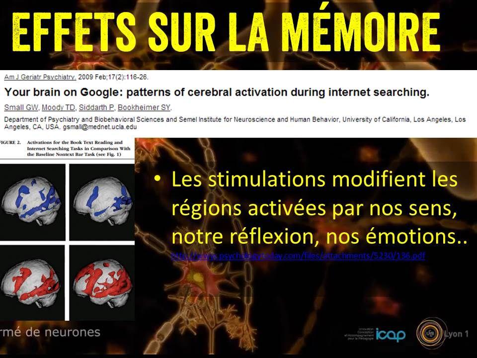 Effets sur la mémoire Les stimulations modifient les régions activées par nos sens, notre réflexion, nos émotions..