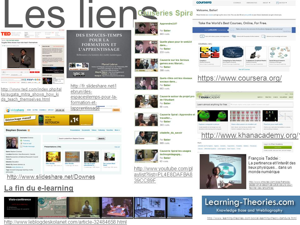 Les liens http://www.ted.com/index.php/tal ks/sugata_mitra_shows_how_ki ds_teach_themselves.html http://www.learning-theories.com/social-learning-theory-bandura.html http://www.slideshare.net/Downes http://www.leblogdeskolanet.com/article-32484658.html La fin du e-learning https://www.coursera.org/ http://www.khanacademy.org/http://www.khanacademy.org/1 http://fr.slideshare.net/l ebrun/des- espacestemps-pour-la- formation-et- lapprentissage http://www.knowtex.com/blog/francois- taddei-on-a-besoin-de-catalyseurs-pour- faciliter-les-rencontres/ François Taddei : La pertinence et l interêt des lieux physiques...