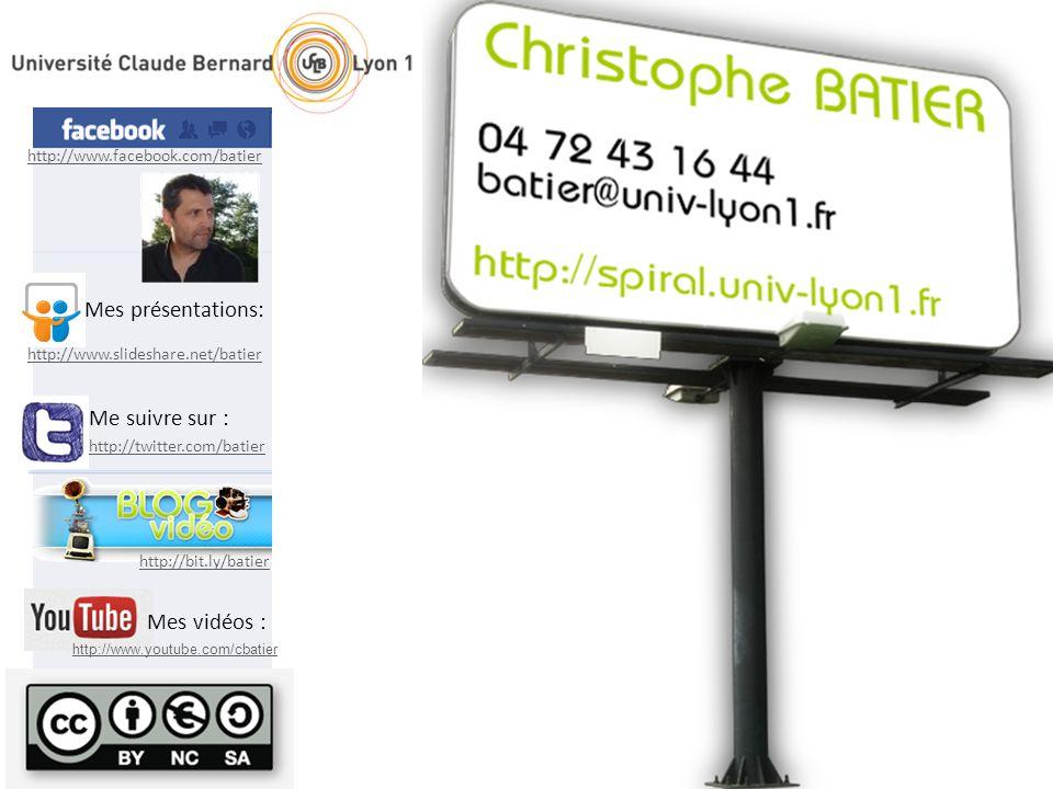 http://twitter.com/batier Me suivre sur : http://bit.ly/batier http://www.facebook.com/batier http://www.slideshare.net/batier Mes présentations: http://www.youtube.com/cbatier Mes vidéos :