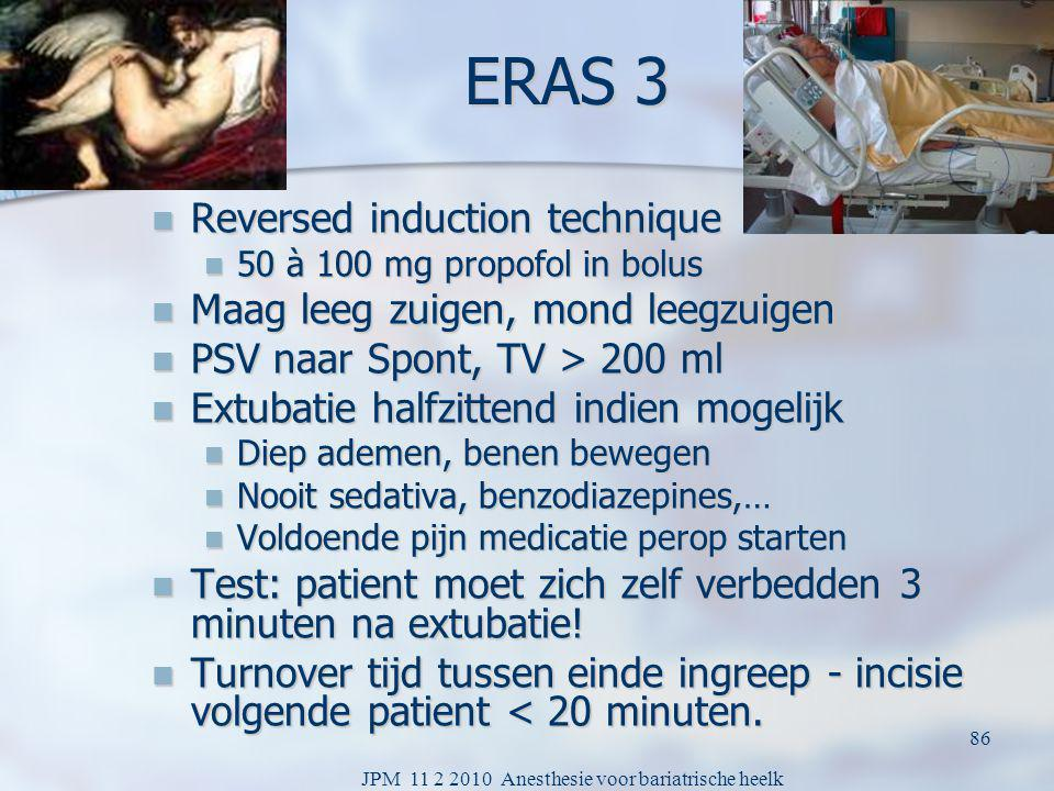 JPM 11 2 2010 Anesthesie voor bariatrische heelk 85 Hypercapnic pressure support ventilation Increases cardiac output Increases cardiac output Less wound infections Less wound infections Lowers airway pressures Lowers airway pressures Resp freq: morfine if too low stop PSV Resp freq: morfine if too low stop PSV TV: curarisation corrected by support level TV: curarisation corrected by support level Improves saturation per op if low Improves saturation per op if low Rapid awakening and spontaneous breathing Rapid awakening and spontaneous breathing Non surgical time between OP < 20 min Non surgical time between OP < 20 min Less pain when awakening Less pain when awakening Extra doses given during end of surgery Extra doses given during end of surgery Better post op breathing Better post op breathing less post ventilation less post ventilation