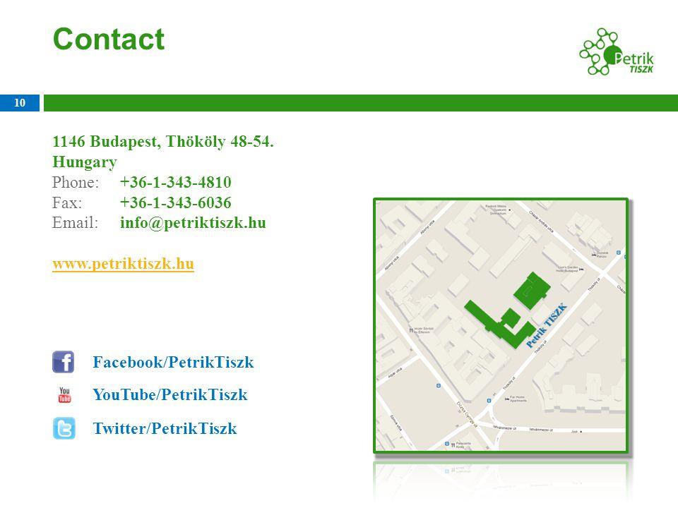 Contact 10 1146 Budapest, Thököly 48-54. Hungary Phone: +36-1-343-4810 Fax: +36-1-343-6036 Email: info@petriktiszk.hu www.petriktiszk.hu Facebook/Petr