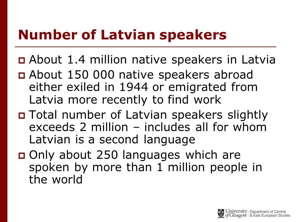 Ethnic composition of Latvia  Latvians58.6%  Russians28.8%  Belarussians3.9%  Ukrainians2.6%  Polish2.5%  Lithuanians1.4%  Others2.2%