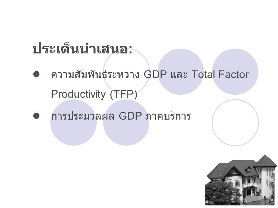 ประเด็นนำเสนอ : ความสัมพันธ์ระหว่าง GDP และ Total Factor Productivity (TFP) การประมวลผล GDP ภาคบริการ
