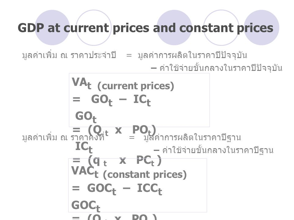 มูลค่าเพิ่ม ณ ราคาประจำปี = มูลค่าการผลิตในราคาปีปัจจุบัน – ค่าใช้จ่ายขั้นกลางในราคาปีปัจจุบัน มูลค่าเพิ่ม ณ ราคาคงที่= มูลค่าการผลิตในราคาปีฐาน – ค่าใช้จ่ายขั้นกลางในราคาปีฐาน VA t (current prices) = GO t – IC t GO t = (Q t x PO t ) IC t = (q t x PC t ) VAC t (constant prices) = GOC t – ICC t GOC t = (Q t x PO o ) ICC t = (q t x PC o ) GDP at current prices and constant prices