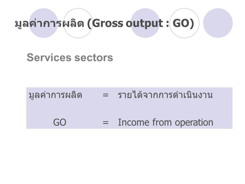 มูลค่าการผลิต (Gross output : GO) มูลค่าการผลิต= รายได้จากการดำเนินงาน GO = Income from operation Services sectors
