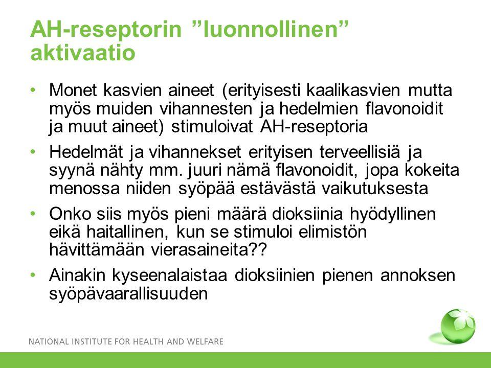 AH-reseptorin luonnollinen aktivaatio Monet kasvien aineet (erityisesti kaalikasvien mutta myös muiden vihannesten ja hedelmien flavonoidit ja muut aineet) stimuloivat AH-reseptoria Hedelmät ja vihannekset erityisen terveellisiä ja syynä nähty mm.