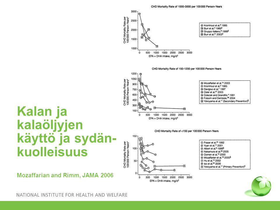 Kalan ja kalaöljyjen käyttö ja sydän- kuolleisuus Mozaffarian and Rimm, JAMA 2006