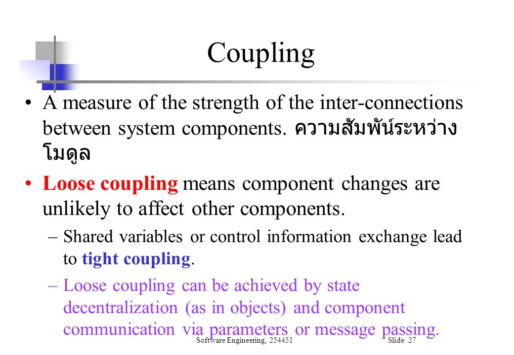 Software Engineering, 254451 Slide 27 A measure of the strength of the inter-connections between system components. ความสัมพัน์ระหว่าง โมดูล Loose cou