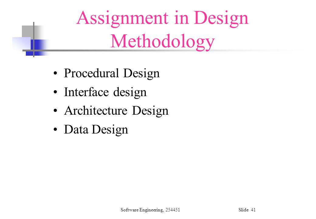 Software Engineering, 254451 Slide 41 Assignment in Design Methodology Procedural Design Interface design Architecture Design Data Design