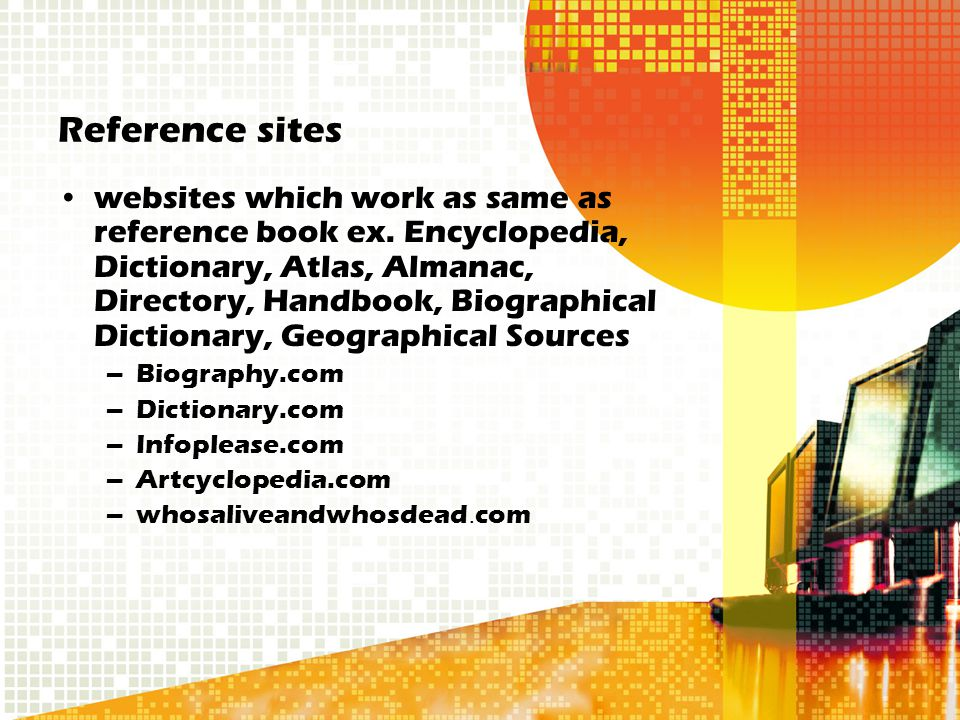 Reference sites websites which work as same as reference book ex.